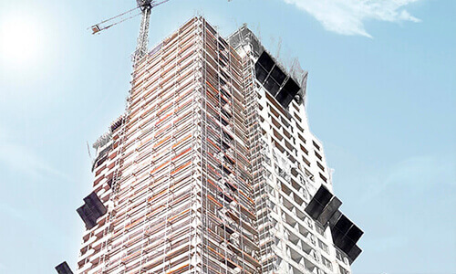 Catari scaffold at Con Con residential building Santiago, Chile